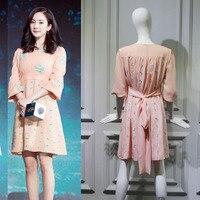 New 2019 orange pink Flower Embroidered V tie waist tied dress in summer