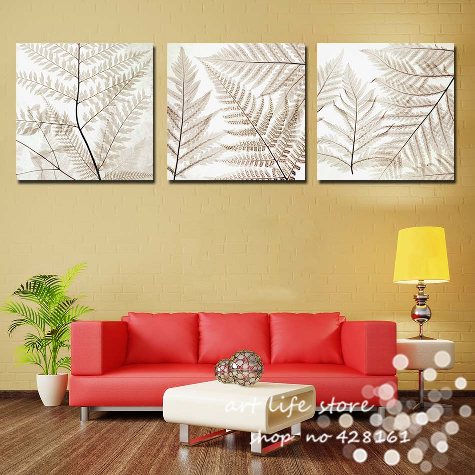 New Design 3Panels Wall Art Modern Abstract All Loved Leaves ...