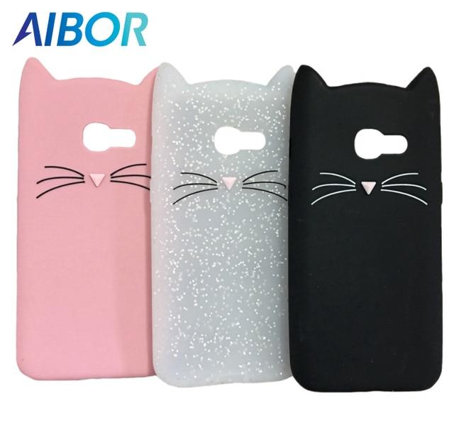 3D cute cartoon Mustache beard cat Ear soft silicone case for Samsung Galaxy A5 A3 2017/16 S8 S9 J4 J6 J8 A6 A8 Plus 2018 cover