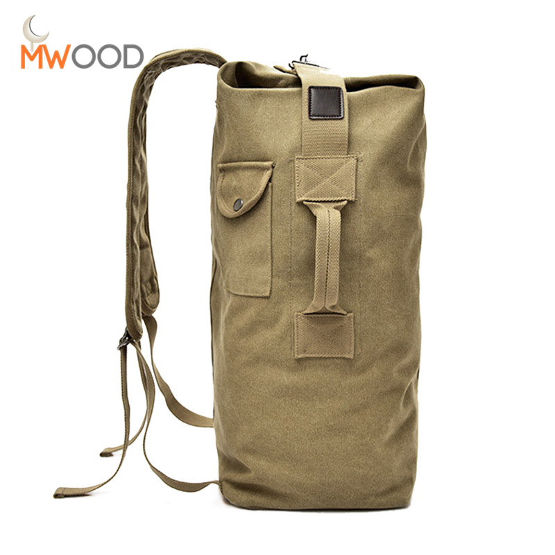 Vintage Tone Male Multi Functional Backpacks Canvas Army Military Bag Large Capacity Travel Backpack Men Outside Shoulder Bag