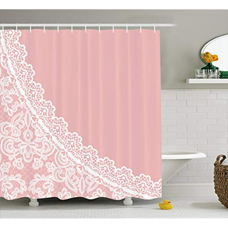 Vixm Pink And White Shower Curtain Lace Old Fashioned