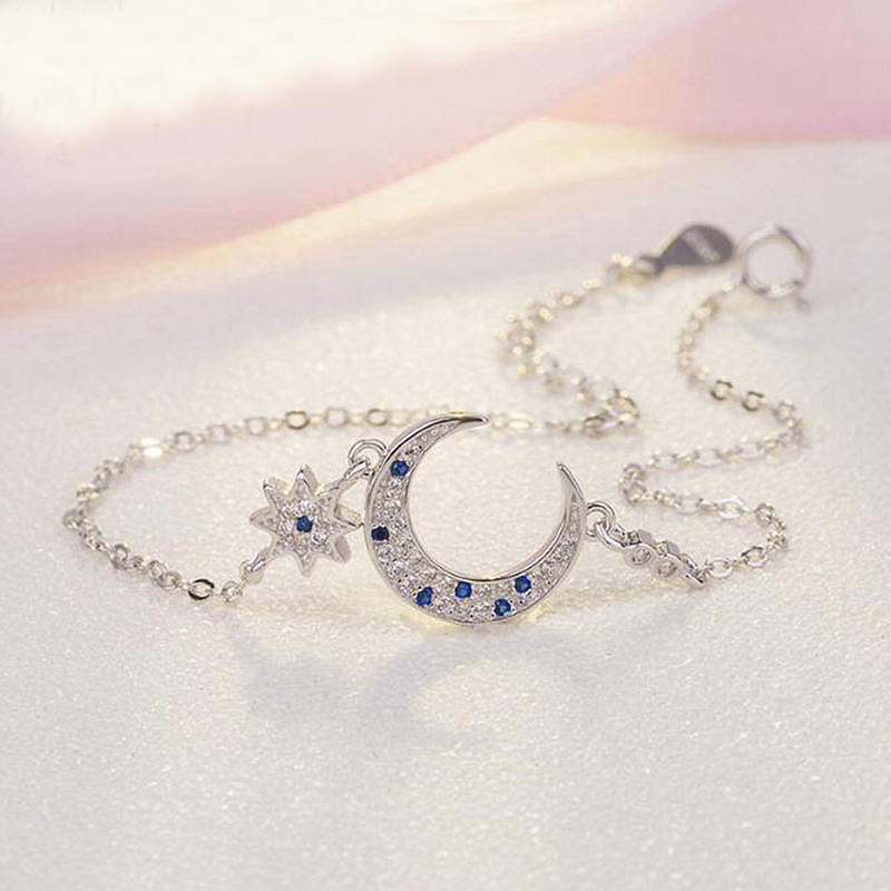 Ruifan Moon and Star Blue Cubic Zircon Charm Bracelet for Women Real 925 Sterling Silver Bridal Wedding Bracelets Jewelry YBR029