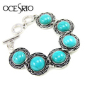 Round Vintage Turquoise Bracelet Silver Charm Bracelet with Stones Bangles & Bracelets for Women Tibetan Jewelry New brt-j42
