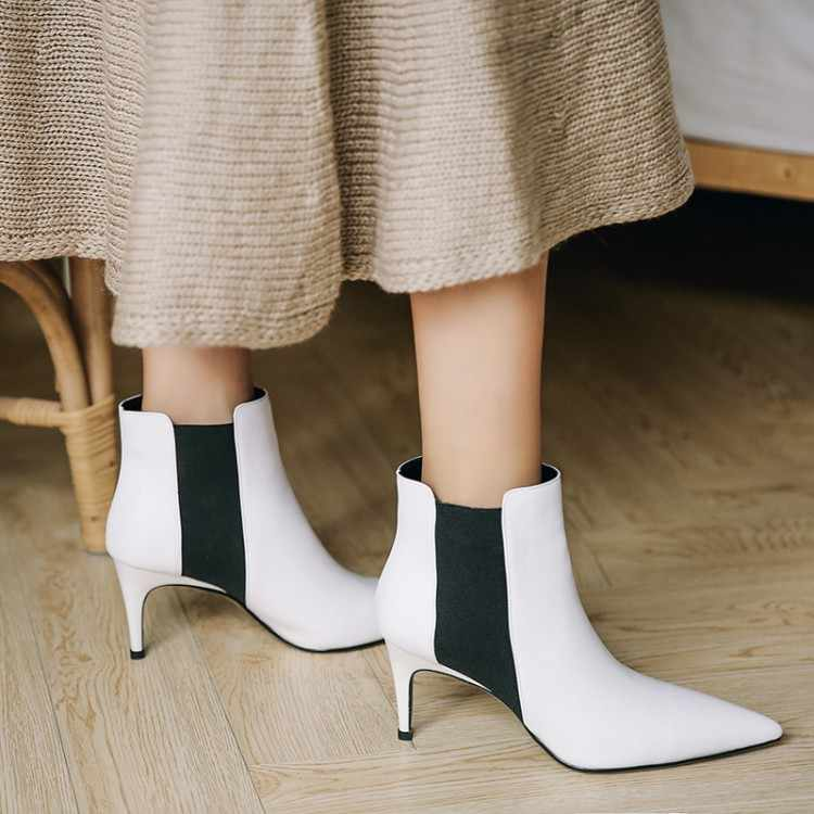 Große Größe 9 10 11 12 Spitze-gekippt solid-farbe elastische hochhackigen dünnen absätzen Martin bootspecial-shaped high heels
