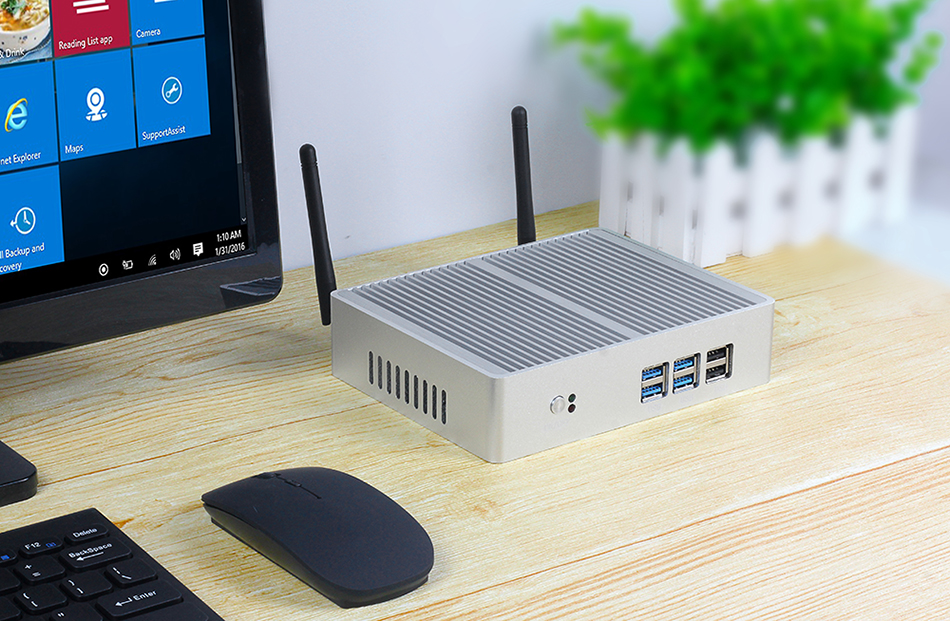 Fanless Mini PC for Windows with Dual Output Display and WiFi 6