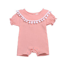 Regular Cotton Summer Fashion Baby Girl Romper O-neck Short Sleeve Casual Baby Onesie Solid Patchwork Newborn Romper For Girls(China)