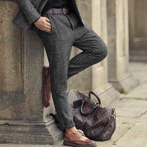 Image 3 - 新しい冬男性のカジュアルグレーのチェック柄ウールボタンスリムストレッチロングパンツ男性ズボンイタリアンスタイルのファッションブランドデザイン k681 2