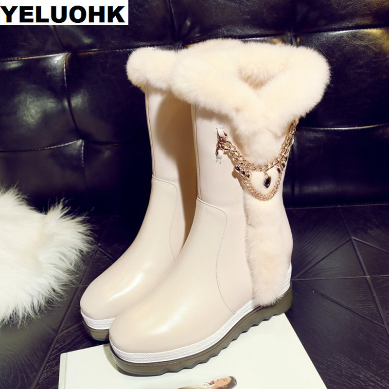 Brand Chain Snow Boots Women Winter Shoes Fashion Warm Mid Calf Boots Women Wedge Shoes Warm Plush Women High Boots 2016 new warm snow boots women plush winter mid calf boots fashion wedding shoes brand lady botas flat shoes