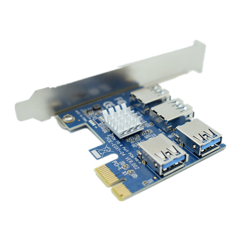 High Quality 5Gbps PCI-E Express 1x to 4-port USB3.0 Extender Riser Card Adapter Board Port Multiplier Dec29 new pci e 1x expansion kit 1 to 3 ports and to 4 pci express witch multiplier expander hub riser expansion card xxm
