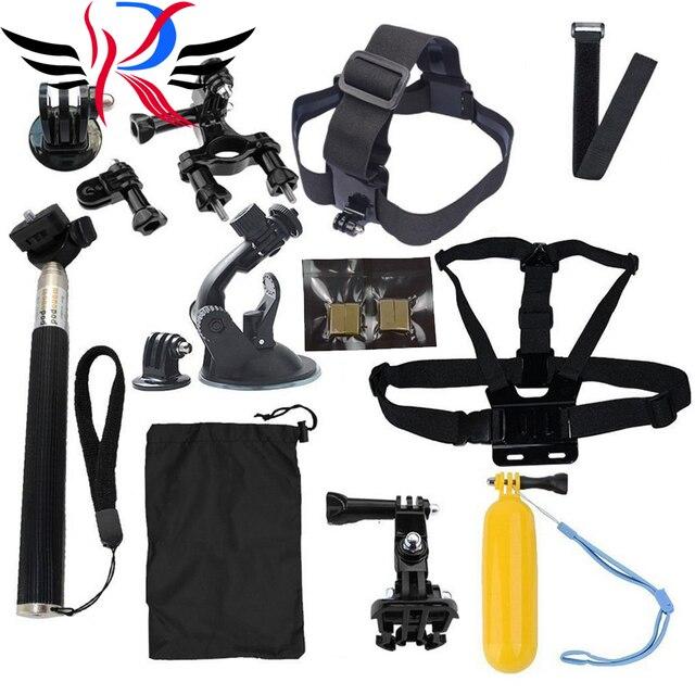 GoPro accesorios 15 en 1 Kit Familia Go Pro accesorios SJ4000 SJ5000 SJ6000 paquete conjunto para gopro hd hero 1 2 3 3 + 4 xiaomi yi