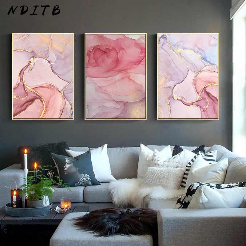 유체 아트 캔버스 벽 아트 포스터 북유럽 추상 대리석 질감 인쇄 그림 장식 그림 현대 홈 오피스 룸 장식
