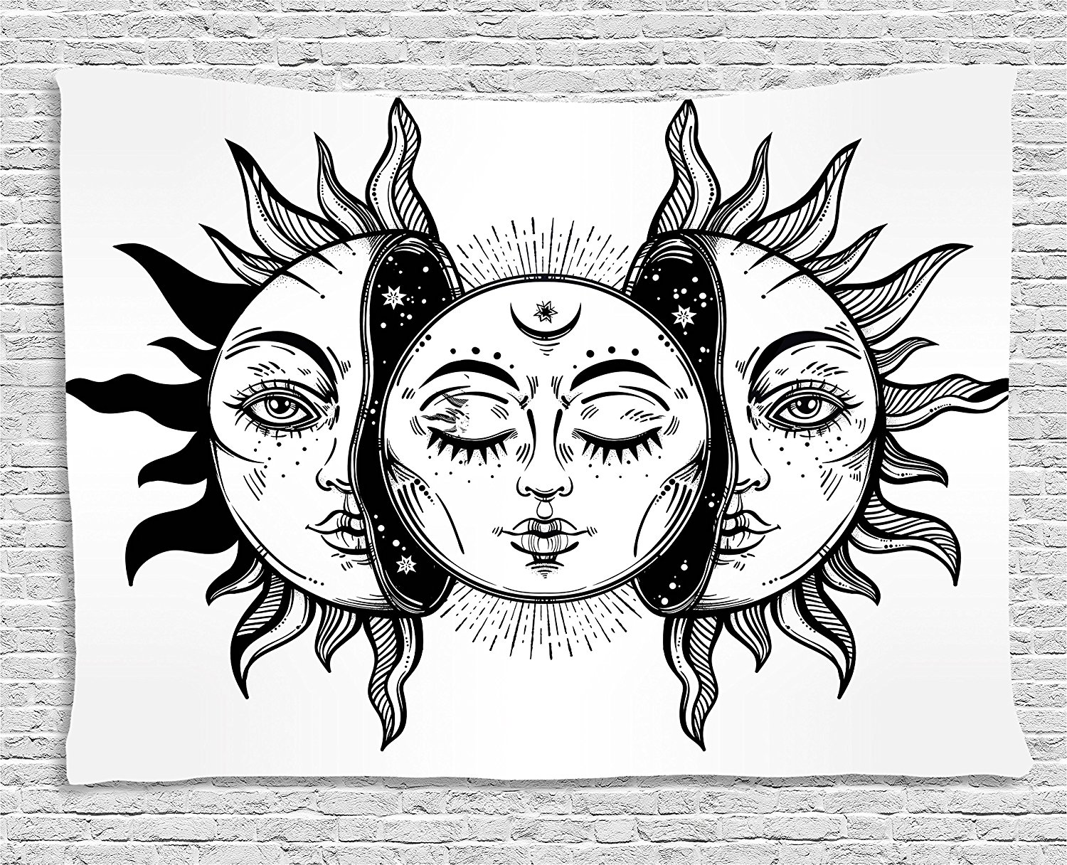 Aliexpress Buy Moon Tapestry Monochrome Sun And Moon