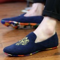 Mixed Color Soft Bottom Flat Shoes Round Toe Men Suede Leather Embroidered Designer Loafers New Man Slip On Working Dress Flats
