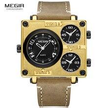MEGIR 2019 Suare Dial Quartz Watches Men Top Brand Luxury Multi Time Zones Leather Strap Military Sport Wristwatch Man 2069 GOLD стоимость