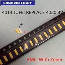 100 pces 4014 substituir 4020 smd led grânulos branco frio 0.5w 3v 150ma para tv/lcd retroiluminação led de alta potência led emc