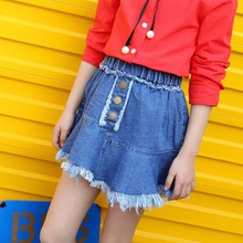 New Summer Girls Denim Mini Skirt Fashion Casual Solid Short Jeans Skirt A-line Above Knee Big Kids Girls Children Clothes 136