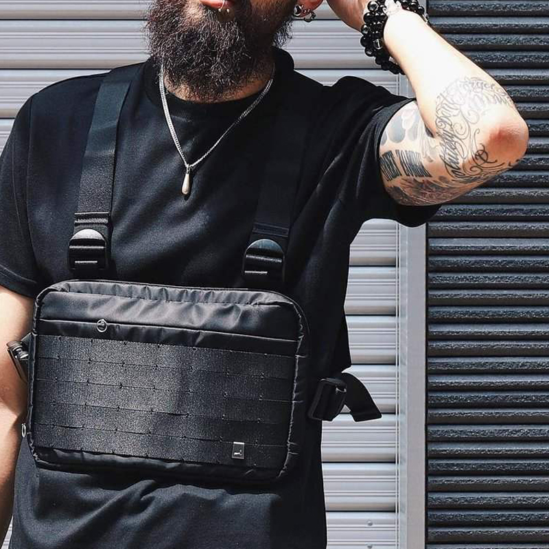 Men Women Vest Nylon Military Hip Hop Chest Bags Male Tactical Waist Bag Boy Waistcoat Function Rig Streetwear Packs 589
