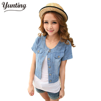 6185 Spring And Autumn Female Outerwear Sweet Denim Small Cape Short Sleeve Short Design Denim Outerwear