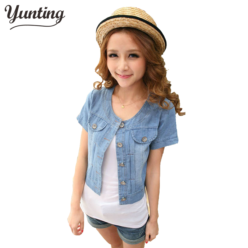 Free shipping 2017 New Fashion Women Round Neck Short Denim Jean Jacket Coat Half Sleeve Button S M L XL XXL 3XL