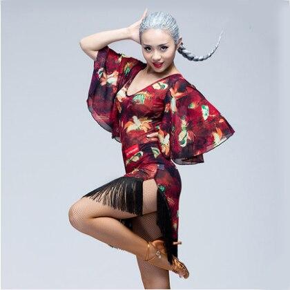 Latinské taneční šaty Ženy Sexy Ballroom tango Latinské košile Sukně danskleding franjas roupas tanzrock latein Wear Costumes for Girl