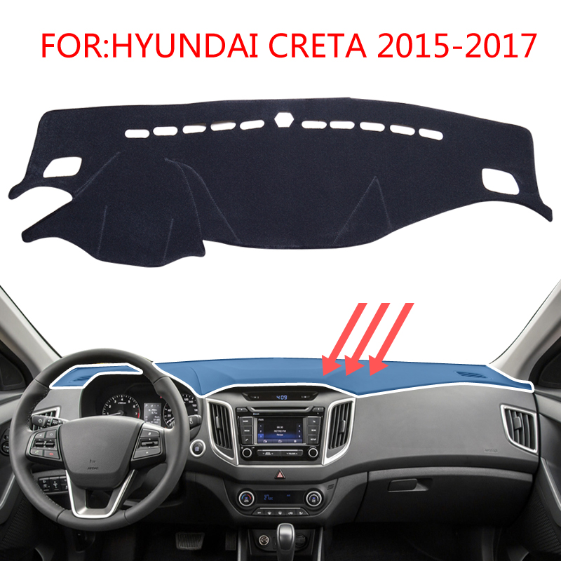 smabee Dash Mat Dashmat Black Carpet Cover For HYUNDAI CRETA IX25 2015-2017