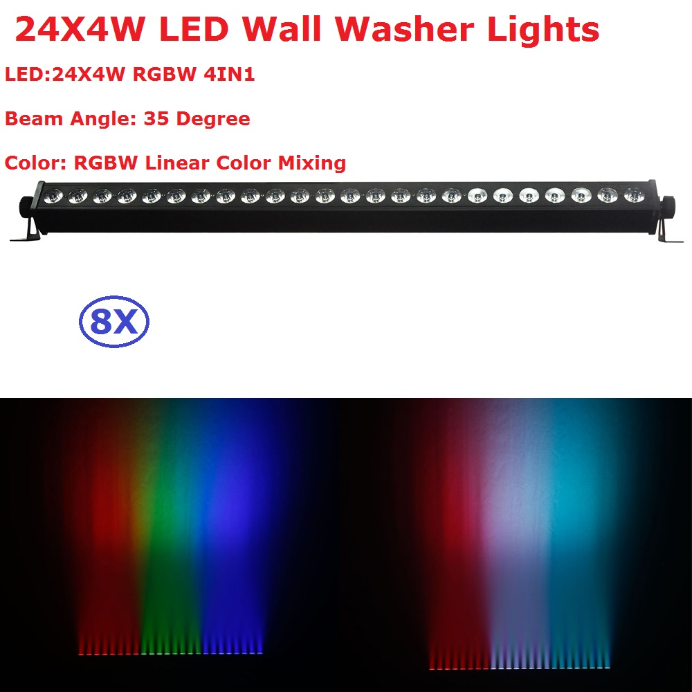 8Pack Carton Package DMX Wall Washer Lights 24X4W RGBW 4 Colors LED Stage Effect Lights For Party Wedding Disco Events Lighting 4 unit carton package rgbw 30w crystal magic ball laser stage lighting 90 240v for dj disco nightclub entertainments projector