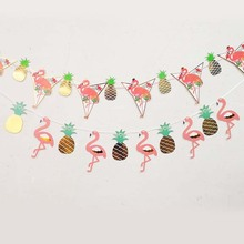 Flamingo Pineapple Banner Party Like A 2.5M Flag Birthday Decorations Kids Favors Hawaiian Beach