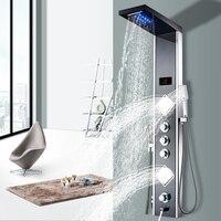 Роскошная термостатическая панель для душа, полированное зеркало SUS304, с держателем органайзером, водопадом, дождем, струей тела