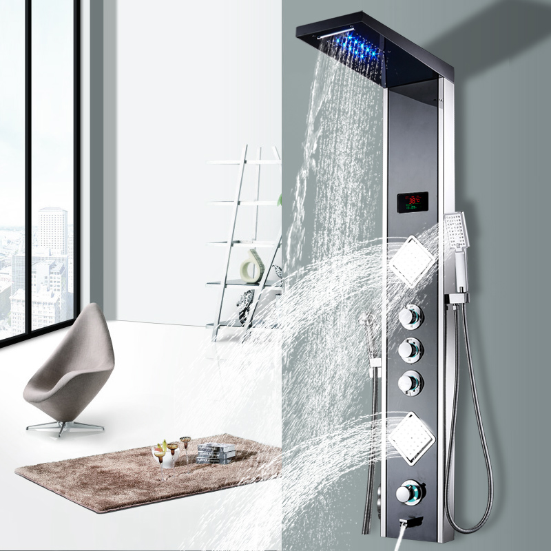 Luxury Thermostatic Control Fold-able Shower Panel, Polished Mirror SUS304, with Organizer Holder, Waterfall, Rainfall, Body Jet