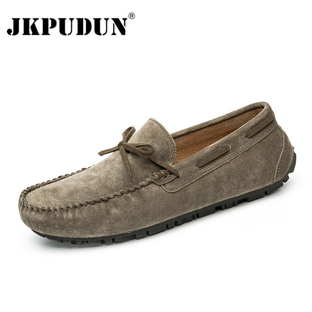77c143f947 JKPUDUN Suede Mens Loafers Luxury Brand Italian Designer Men Casual Shoes  Genuine Leather Slip On Boat Shoes For Men Moccasins