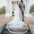 Catedral Branco Marfim Véu Do Casamento De Renda Parcialmente Atado Em Torno de Fundo Curva Acessórios Mantilha Véu de Noiva Véu Véu De Noiva