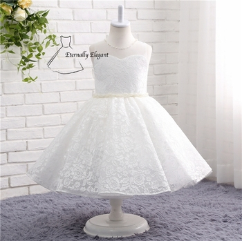 New 2017 White O Neck Ball Gown Sleeveless Lace Organza Flower Girl Dresses For Weddings Pageant Dresses With Flowers TZ003