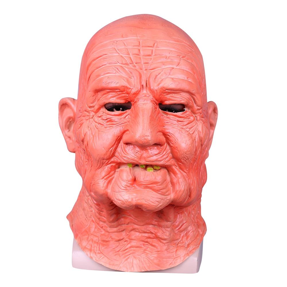 Creepy Old Man Mask With Hair Masquerade Old Man Mask Halloween Mask Props New (4)