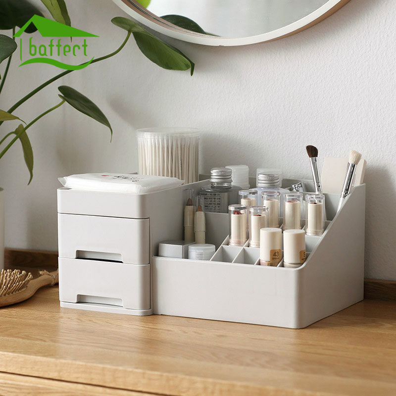 Multi-grid Large Capacity Makeup Organizer Office Organizer Box Cosmetic Plastic Storage Box Desk Bathroom Cosmetic Storage Case
