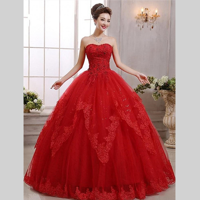 2015 New Design Ball Gown Lace Long Wedding Dresses Red Brautkleid ...
