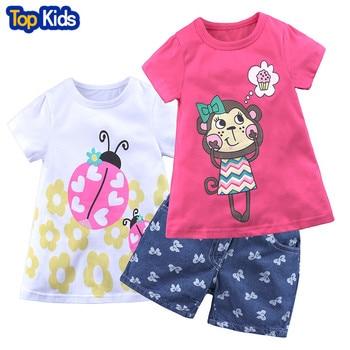 2019 Summer Style Girls Clothing Sets Cartoon Monkey Print T-shirt+Short Pants 3Pcs for Kids Clothes 2-7Y Children MB445 1