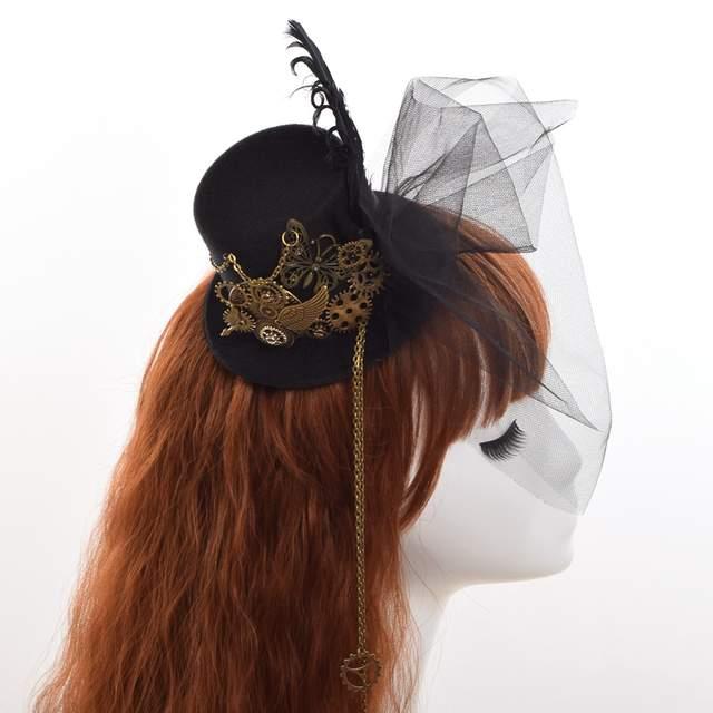 be131a9fcdb48 placeholder Women Steampunk Fascinator Mini Top Hat Hair Clip Punk Gothic  Gear Wings Clock Butterfly Decoration Headwear