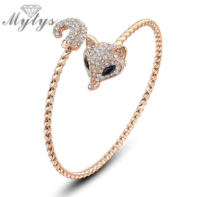 Mytys Pave Setting Crystal Lovely Fox Head Rose Gold Adjustable Size