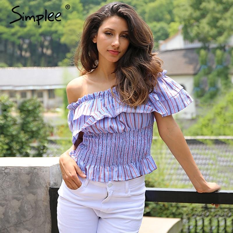 Simplee camisa de la blusa de la colmena del hombro de la raya Ocasional plisada