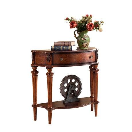Консольный стол, гостиная, мебель для дома, твердый деревянный столик, столик для крыльца, стол, полукруглый шкаф для коридора - Цвет: Коричневый
