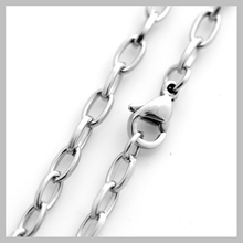 3.8mm S.Steel Square Material Oval Link Long Cross Chain Necklaces Casual Unisex S038