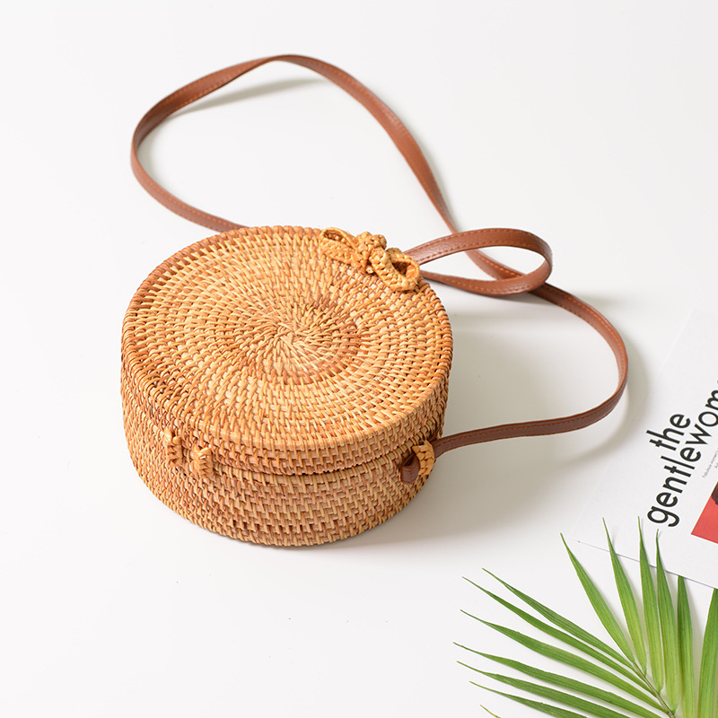 18 Round Straw Bags Women Summer Rattan Bag Handmade Woven Beach Cross Body Bag Circle Bohemia Handbag Bali 15