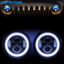HJYUENG 45w 7 Inch Led Headlight H4 DRL Round 7'' Headlights with Yellow & White Angel Eye for Jeep Wrangler Lada Niva 4x4 2pc 7 inch 80w round led headlights kit with angel eye drl amber turn signal lights for jeep wrangler jk cj lj 7inch headlight
