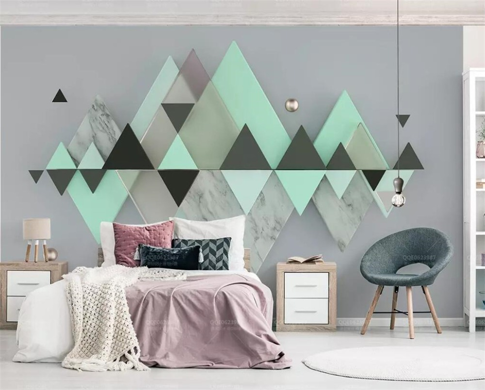 beibehang Custom wallpaper new 3d mural new geometric triangle mint green background wall papers home decor 3d papel de parede Обои