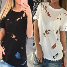 Hot Sale Women Cotton Solid Short Sleeve Tshirt Summer Causal Fashion Hole Female Top Tee