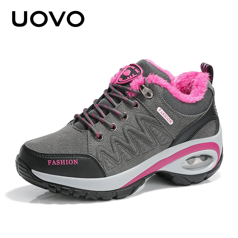 Women Shoes Autumn And Winter Warm Sports Shoes Height Increasing Style Shoes With Fur And Air Sole Sneakers EUR #35-40