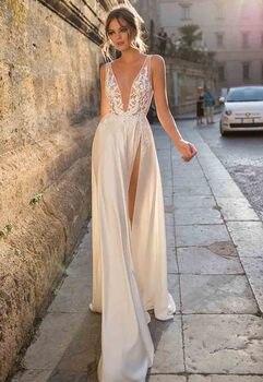 0abcf01dc LORIE Boho vestido de novia fuera del hombro encaje Top A línea Vintage  princesa vestido de boda ...