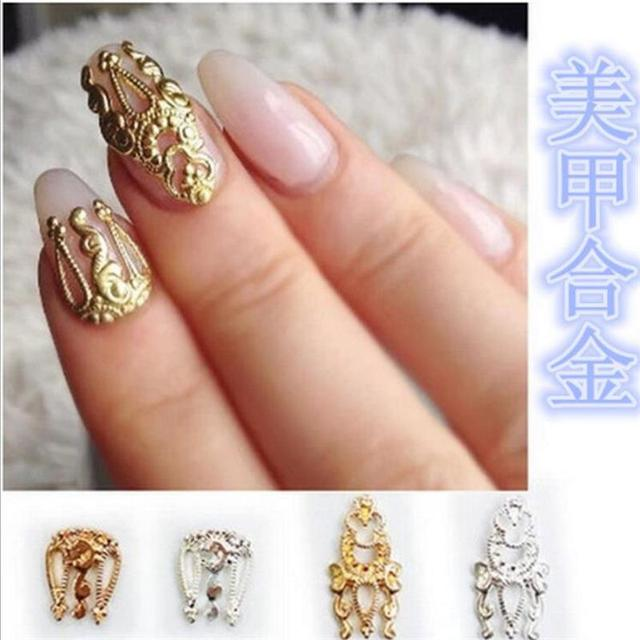 Gold And Silver Color Alloy Cutout Hollow Nail Art Sticker 3d Design