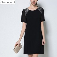 Dress Solid Black Chiffon Sleeve Stitching Round Collar Diamonds Leisure Fit Party Summer Dress Plus Size