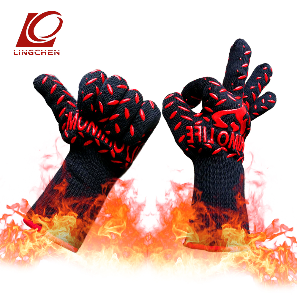 BBQ aramid silicone Heat resistant gloves 932F Extreme BLACK guanti lavoro new 2018 fashion in stock Both men and women все цены